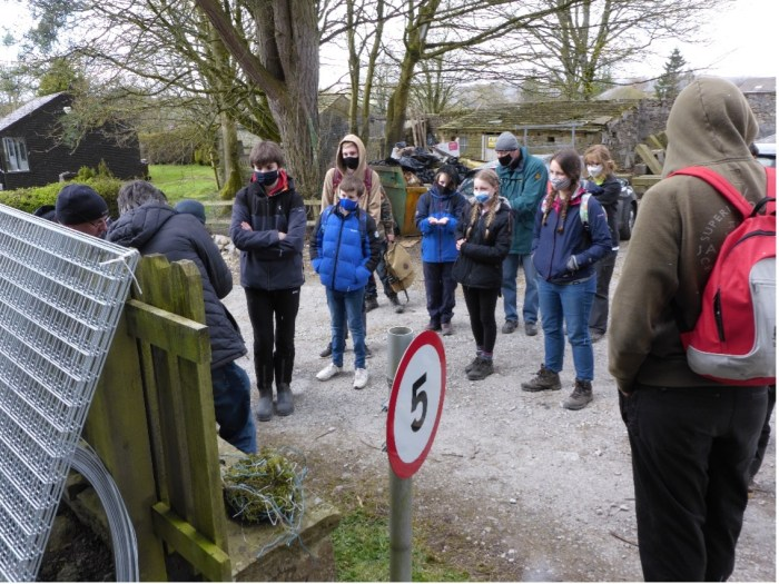 Young Rangers pending a day with the Yorkshire Dales national Park Authority wildlife team