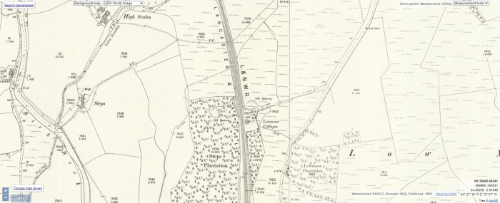 """Lowmoor [sic] Cottages, near Greenholme. OS 25"""" 1898. National Library of Scotland CC-BY-NC-SA"""