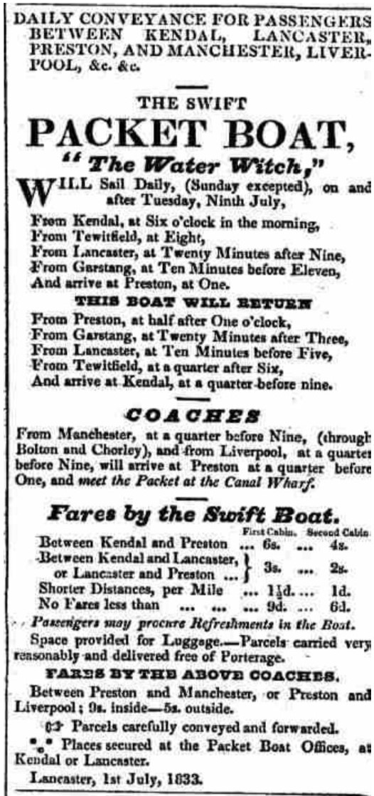 Westmorland Gazette - Saturday 06 July 1833. Newspaper image © The British Library Board. All rights reserved. With thanks to The British Newspaper Archive (https://www.britishnewspaperarchive.co.uk/).