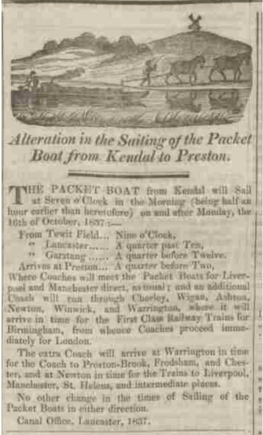 Westmorland Gazette - Saturday 21 October 1837. Newspaper image © The British Library Board. All rights reserved. With thanks to The British Newspaper Archive (https://www.britishnewspaperarchive.co.uk/).