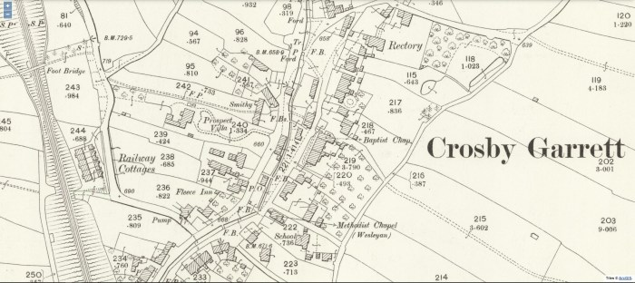 "Crosby Garrett village centre showing location of prospect Villa. 25"" OS 1903 National Library of Scotland CC-BY-NC-SA"