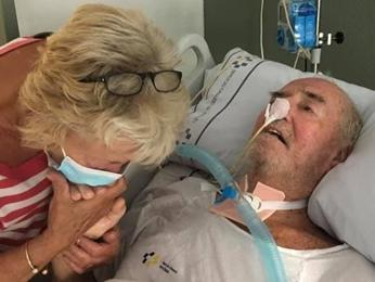 Bill  Annable pictured in hospital in Tenerife with wife Dot.