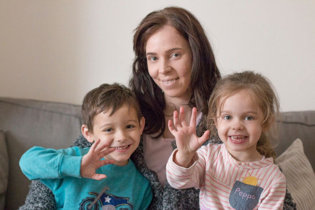 A YH customer with her children at home