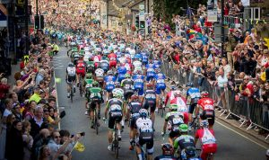 Crowds in Ilkley during the Grand Depart earlier this month.