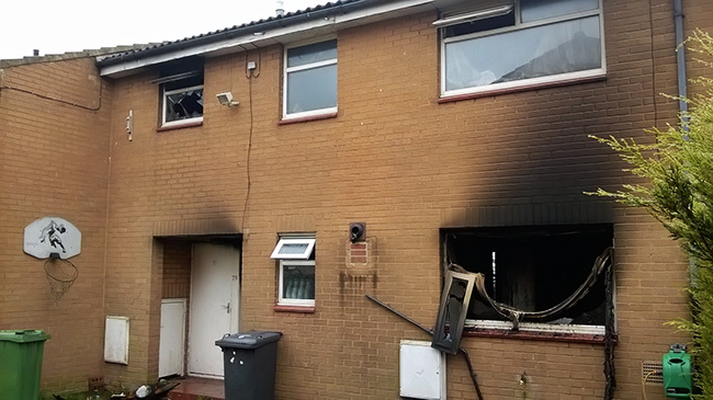 The scorched house in Glencoe Gardens, Kippax.