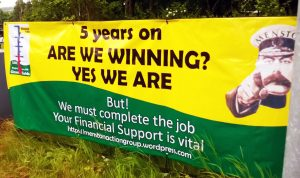 One of the many campaign banners on show around Menston