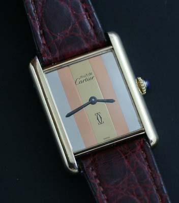 Cartier Tank watch tri gold dial   Used and Vintage Watches for Sale Cartier Tank crown