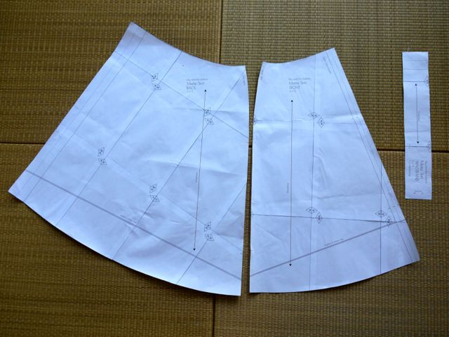 Miette skirt pattern - front, back and waistband pieces.