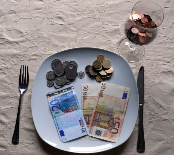 Image of money being served as food