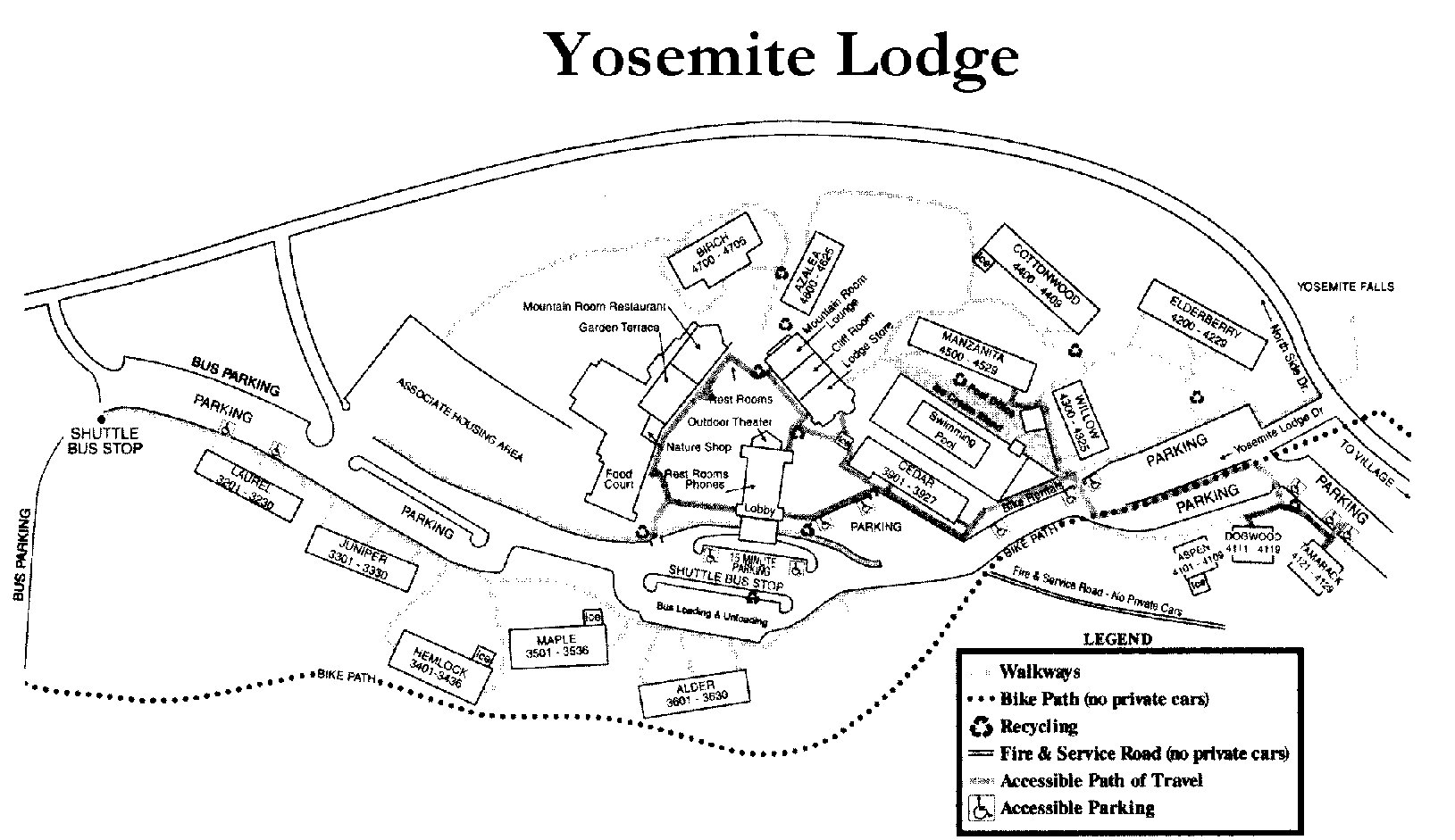 Yosemite National Park Hotel Maps