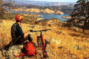 View from the summit at Exchequer Mountain Bike Park overlooking Lake McClure