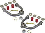 "Kit Includes: Upper Control Arms, Urethane Bushings, Inner Sleeves, Spindle Slug  Adapters & Retaining Clips, 1"" I.D. Stainless Steel Uniballs, Upper & Lower Hi-Misalignment Spacers, Zinc Plated End Washers, Grade 8 Mounting Hardware"