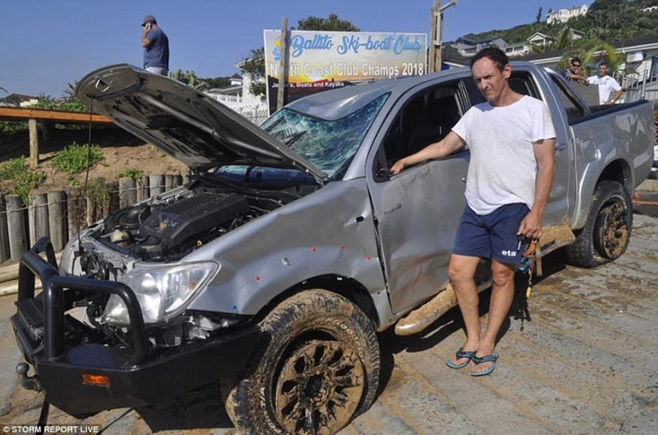 Toyota Hilux Destroyed After Launching Boat On Beach