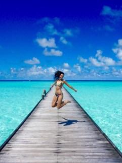 Maldives island,jump bikini