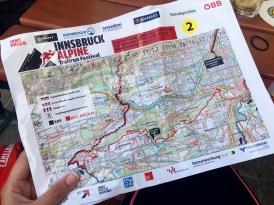 Roadbook Map Innsbruck Alpine Trailrun Festival 2016 distances