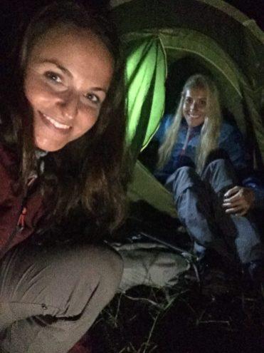 Camping women tent