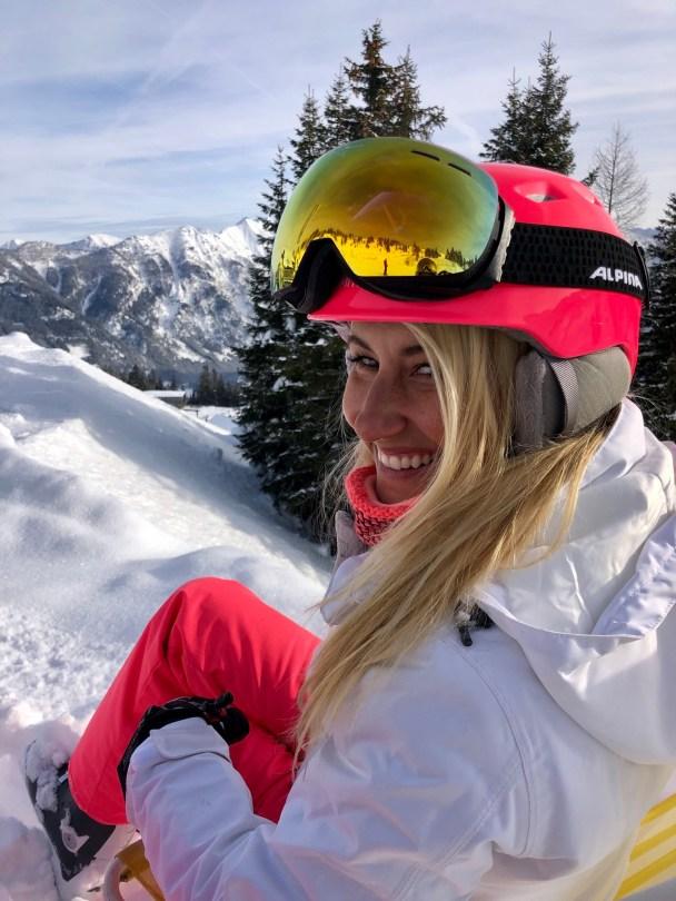 happy girl ski