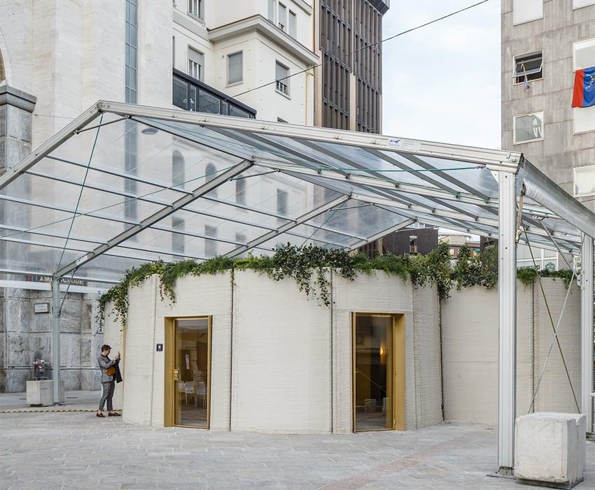 3D Housing 05 è un prototipo di 100 metri quadri, realizzato in una settimana a Milano in Piazza Beccaria