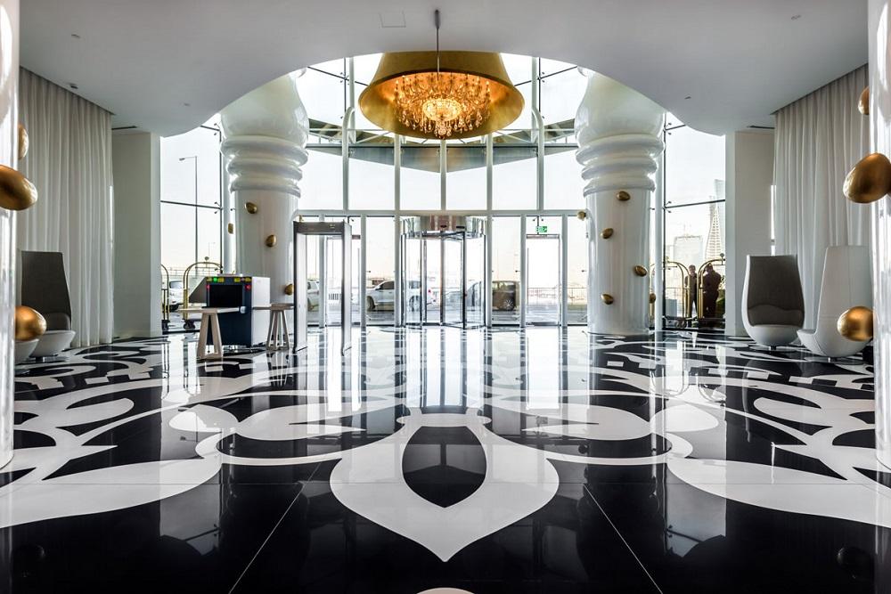 rivestimento ceramico grattacielo qatar lobby