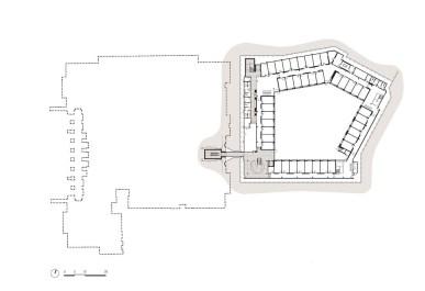 La pianta del piano terra dell'ampliamento, scavata a un livello inferiore rispetto alla linea di terra del Parlamento