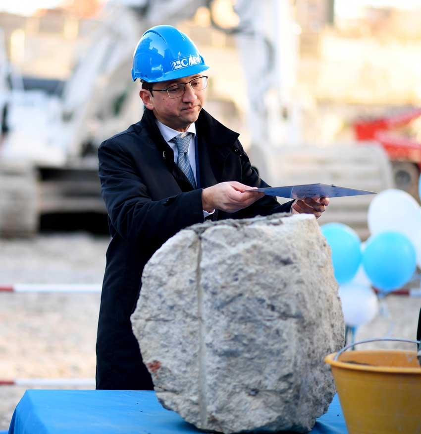 Alessandro Russo,residente e amministratore delegato di Gruppo CAP, alla posa della prima pietra
