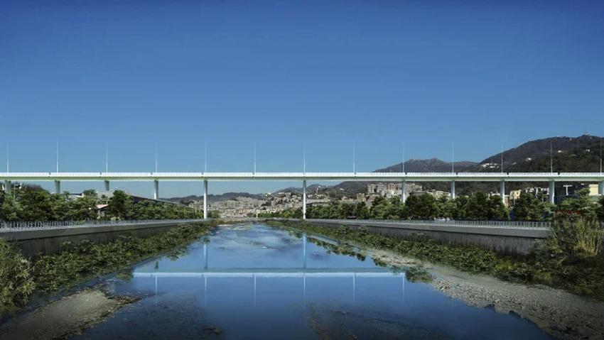 Rendering del nuovo viadotto a Genova