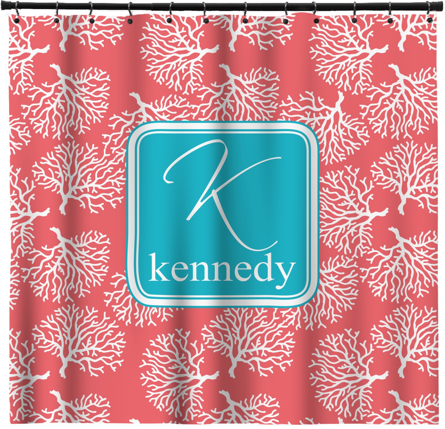 coral teal shower curtain personalized