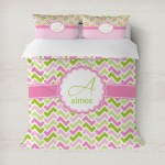 Pink Green Geometric Duvet Covers Personalized Youcustomizeit