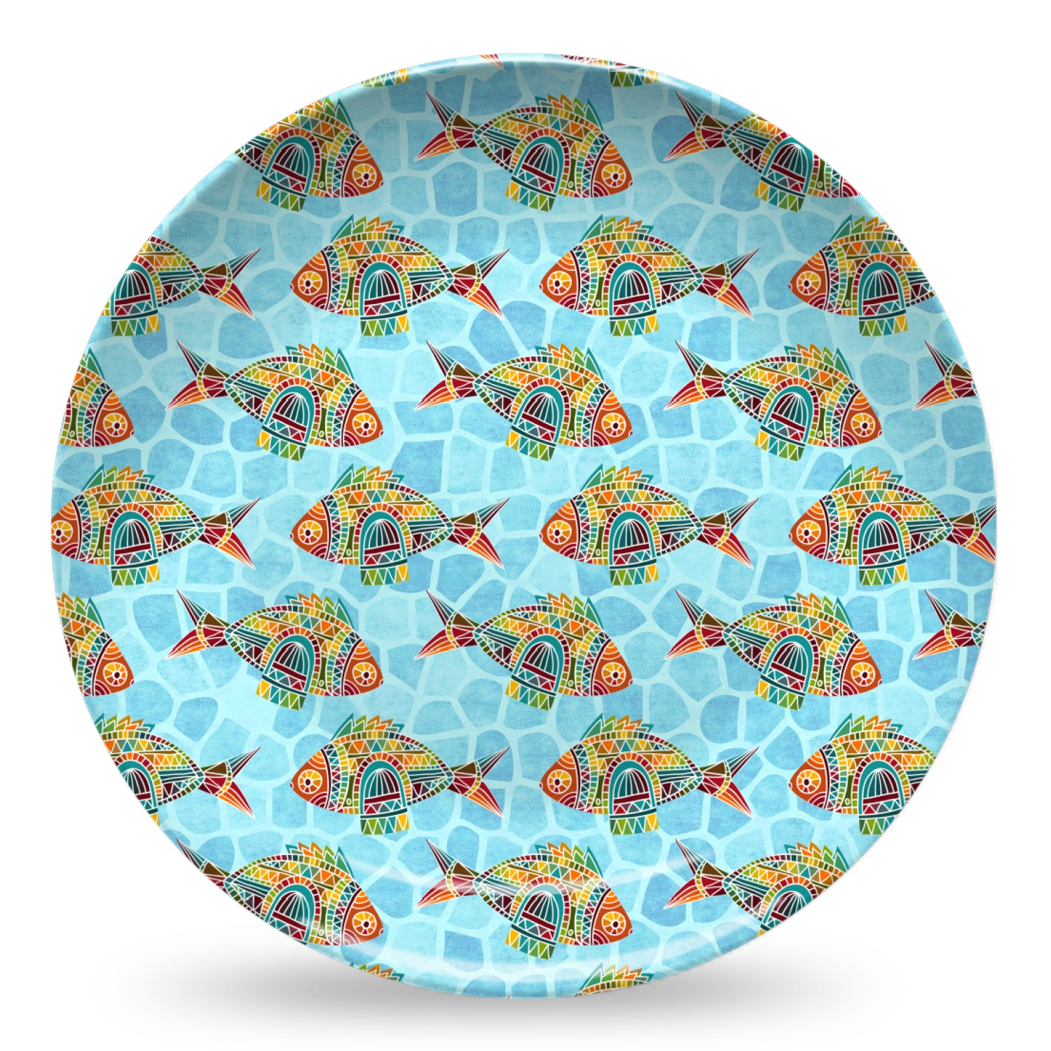 mosaic fish microwave safe plastic plate composite polymer