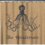 Octopus Burlap Print Shower Curtain Personalized Youcustomizeit