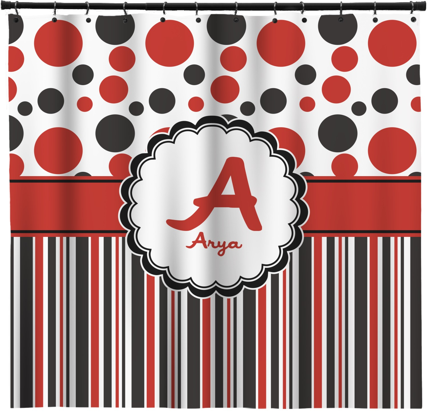 Red Black Dots Stripes Shower Curtain Custom Width Height Personalized