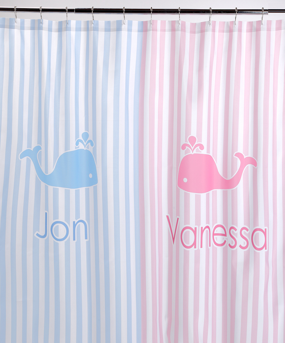 Striped W Whales Shower Curtain Personalized