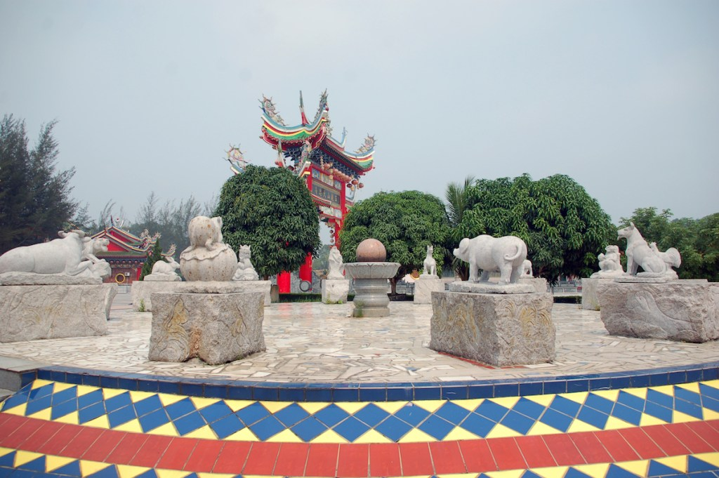 Statues of 12 zodiacs in jade dragon temple