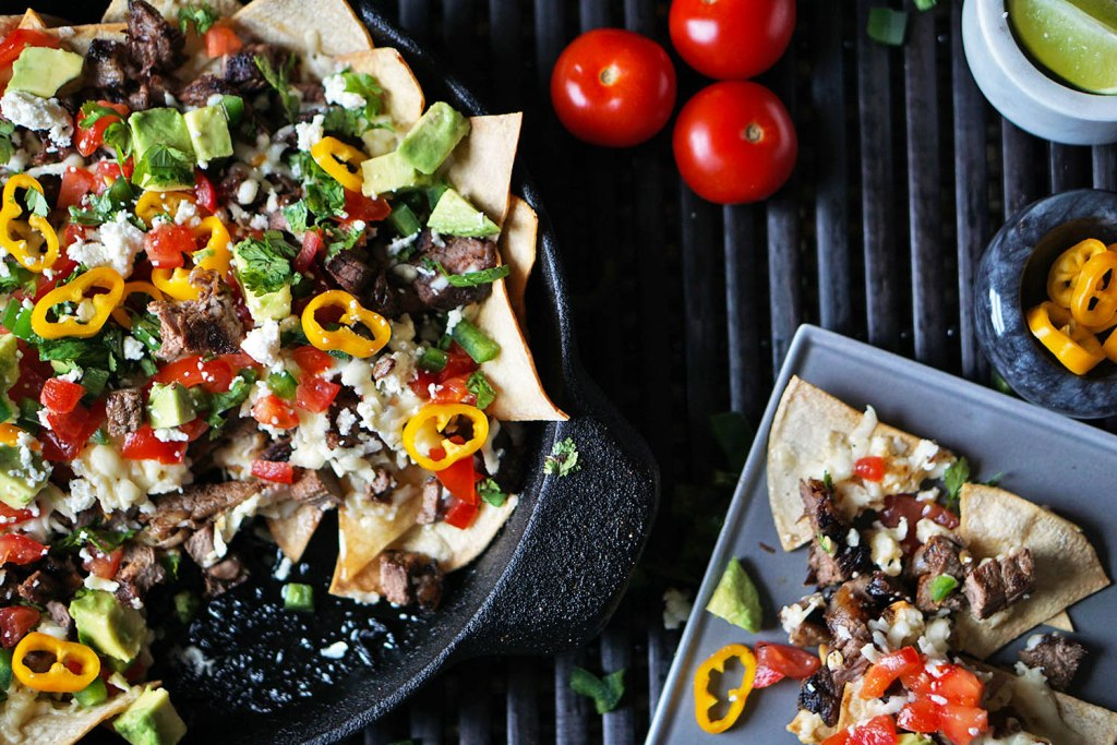 loaded steak nachos for super bowl football recipe
