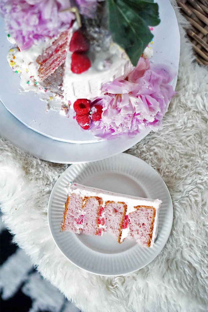 pink raspberry champagne cake recipe mother's day dessert