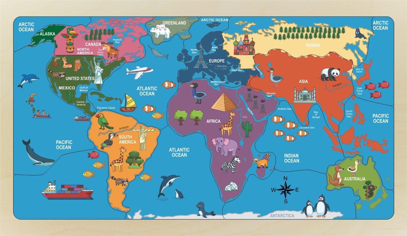 World Map Puzzle Naming Continents Countries Oceans