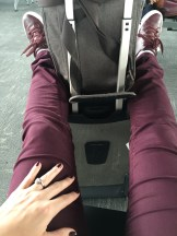 burgundy nails, pants, and shoes
