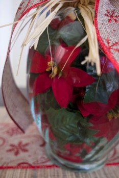 Christmas Vase filler with red and green garland