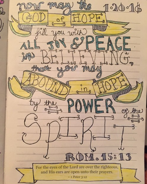 Bible Journaling hand lettering art banners now may the God of hope fill you with all joy and peace in believing that you abound in hope by the power of the spirit Romans 15:13