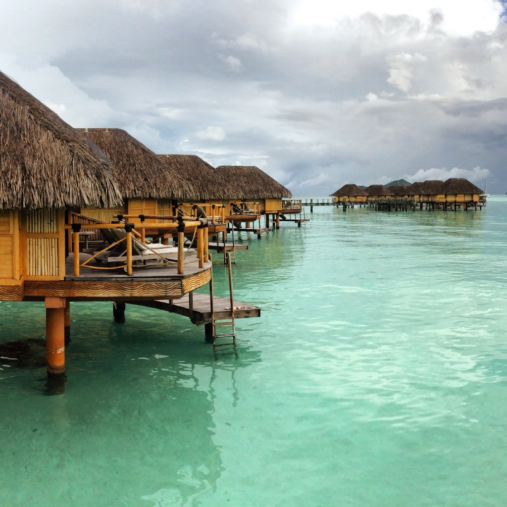 Bora Bora over water bungalows honeymoon iPhone picture