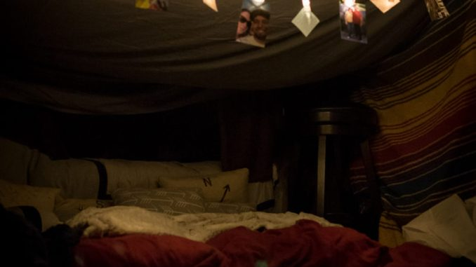 homemade fort for a date night in