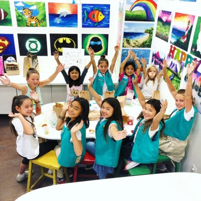 group of students doing artwork