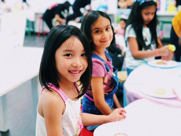 happy children at art table