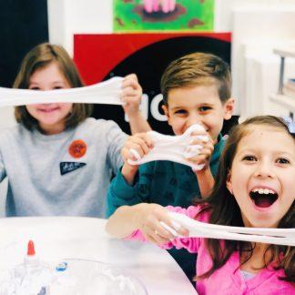 kids lab students making slime