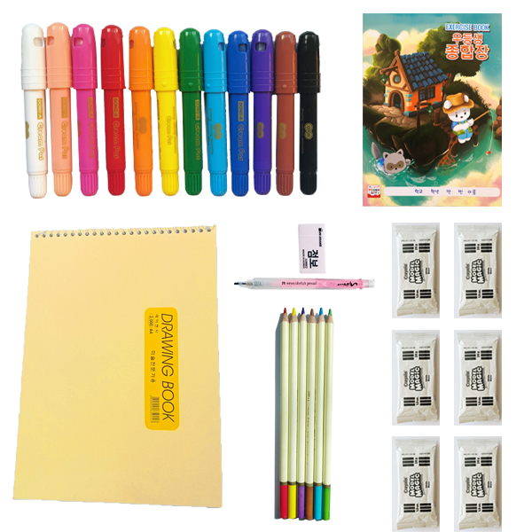 Deluxe art kit contents with clay, pencil, glass or water pastel, pencils, sketchbook