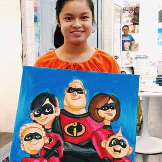 image of student holding painting of the incredibles