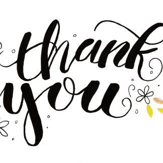 calligraphy 'Thank you' art