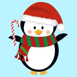 christmas penguin digital composition