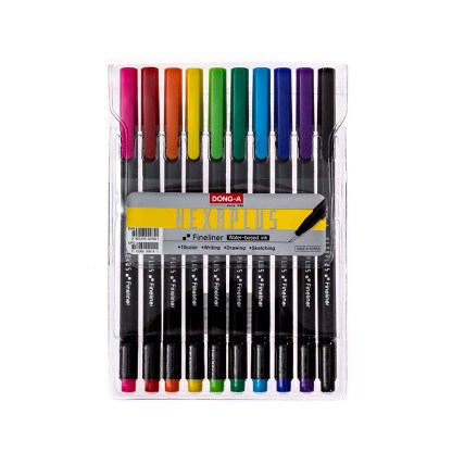 Set of 10 Multicolored Hexaplus Fine Liner Pens in packaging