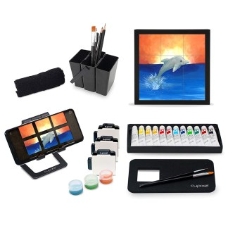 Cupixel kit; brush holder, brushes, pencils, set of 12 assorted paints, phone stand, set of 12 cupixel canvas squares for drawing, canvas frame, wash cloth, canvas placement pad, set of 3 containers to store paint
